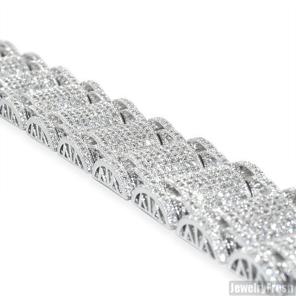 Rhodium Jumbo Bossman Simulated Diamond Bracelet