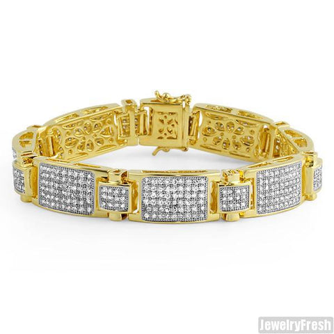 Gold Finish Ice Plate Simulated Diamond VVS Bracelet
