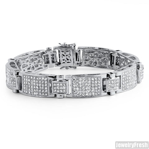 White Gold Finish Ice Plate Simulated Diamond VVS Bracelet