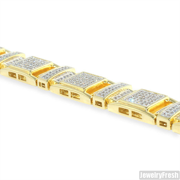 Gold Ice Cubes Simulated Diamond Mens Bracelet