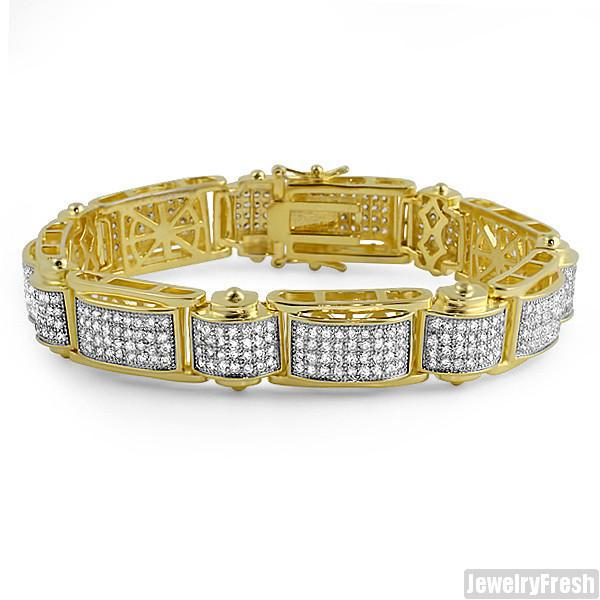 18k Gold Finish Iced Out Micropave Rivet Bracelet