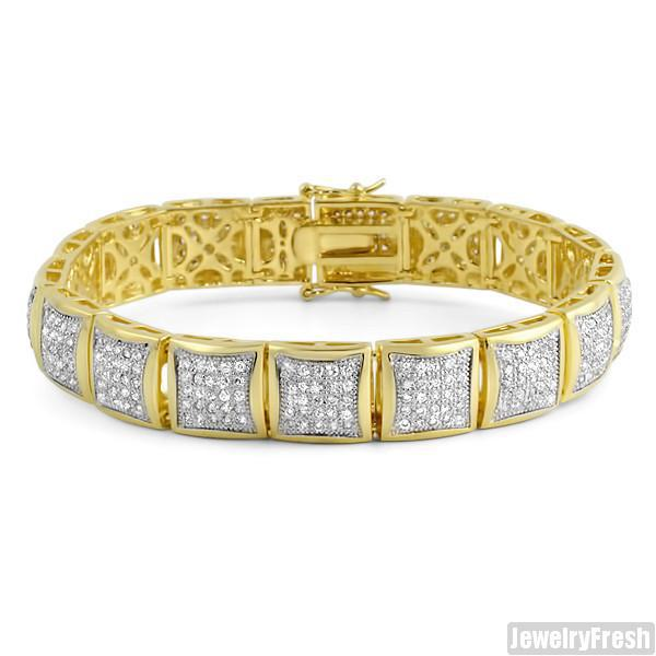 18k Gold Finish Ice Blocks Lab Made VVS Bracelet