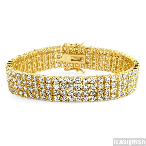 Gold Finish 4 Row Simulated Diamond Bracelet