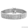 White Gold Finish 4 Row Simulated Diamond Bracelet