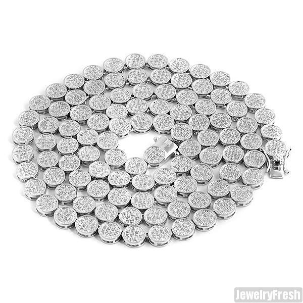 High Quality Rhodium Flat Pave Lab Made Chain