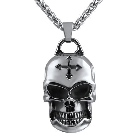3d Skull With 24 inch Stainless Steel Necklace