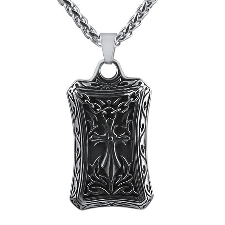 Fancy Cross Dogtag Stainless Steel Necklace