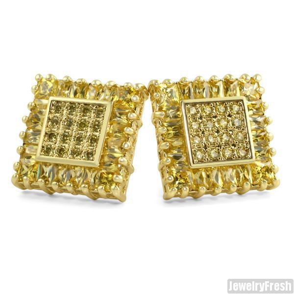 Gold Canary Baguette Border Square Jumbo Studs