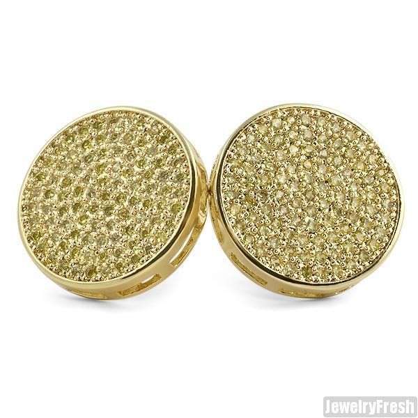Gold and Canary Stones Iced Out Jumbo Circle Studs
