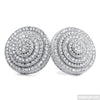 White Gold Finish Bullseye Round CZ Earrings