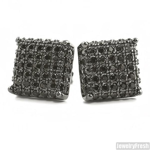 All Black Finish 3D Iced Out CZ Square Mens Earrings