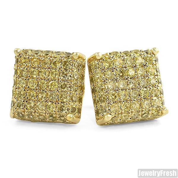 Canary Yellow 3D Iced Out CZ Square Mens Earrings