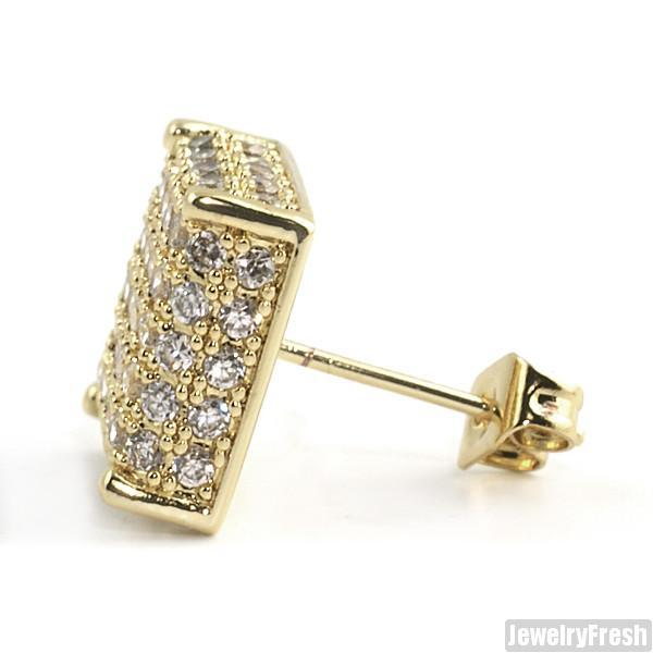 Gold Finish 3D Iced Out CZ Square Mens Earrings