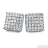 Platinum Tone 3D Iced Out CZ Square Mens Earrings