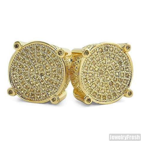 Canary Lemonade Round Micropave Mens Earrings