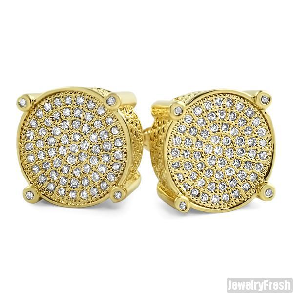 18k Gold Finish Round Micropave Mens Earrings