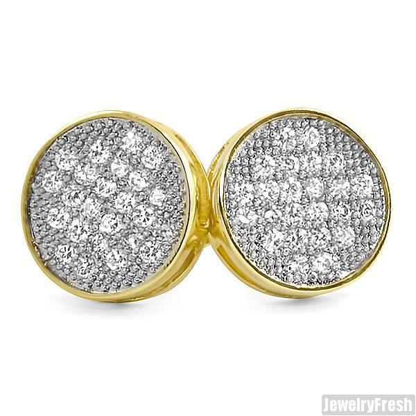 Gold Finish 10mm Round Micropave Button Earrings