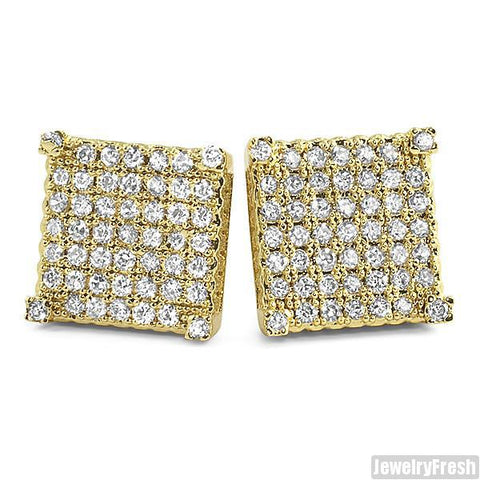 Gold Tone Full Iced Cube Simulated Diamond Earrings