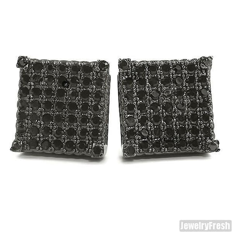 Black Full Iced Cube Simulated Diamond Earrings