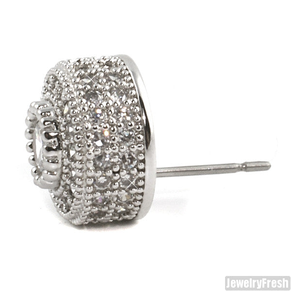 Platinum Tone Fancy Cluster Simulated Diamond Studs