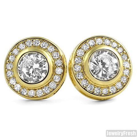 Gold Finish Bezel Set Big Stone CZ Earrings