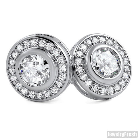 White Gold Finish Bezel Set Big Stone CZ Earrings
