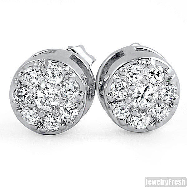 Rhodium Simulated Diamond Cluster Stud Earrings