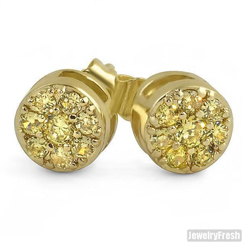 Canary Simulated Diamond Cluster Stud Earrings
