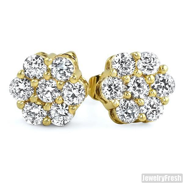 Gold Simulated Diamond Large Cluster Earrings