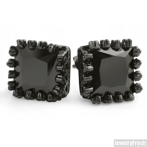 10mm Black Princess Cut Crown Set Stud Earrings