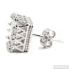 Rhodium Finish 2 Carat Princess Cut Crown Earrings
