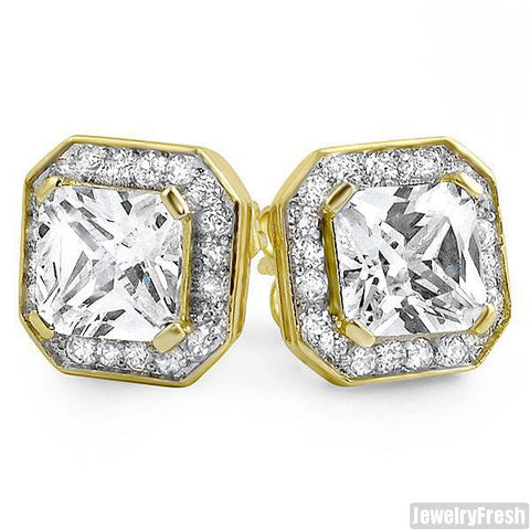 Gold Big Stone Princess Cut 3.5 Carat Earrings