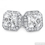 Platinum Tone Big Stone Princess Cut 3.5 Carat Earrings