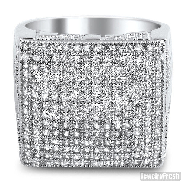 Rhodium Fully Iced Out Micropave Simulated Diamond Ring