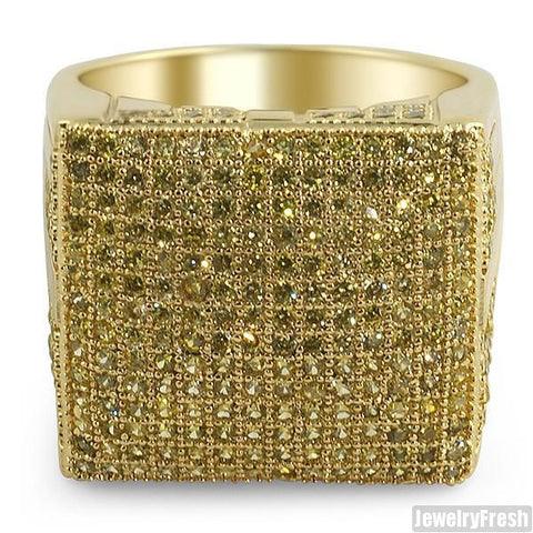 Canary Fully Iced Out Micropave Simulated Diamond Ring