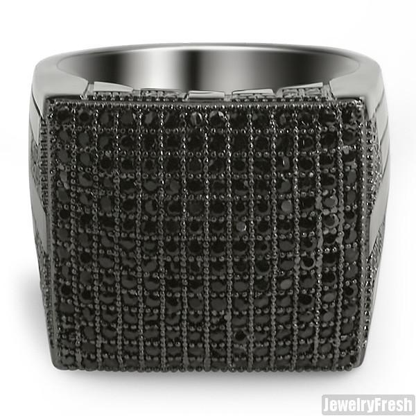 Black Fully Iced Out Micropave Simulated Diamond Ring