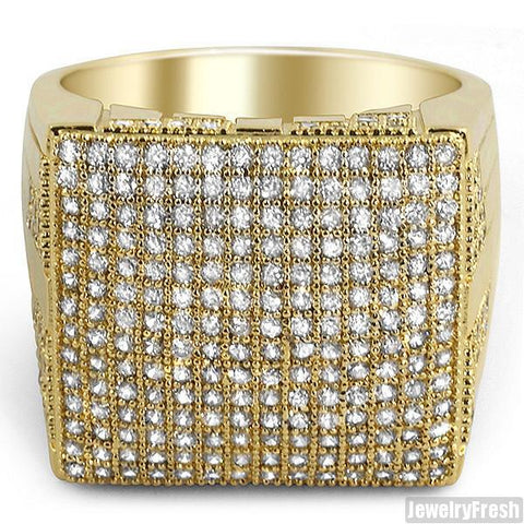 Gold Tone Fully Iced Out Micropave Simulated Diamond Ring