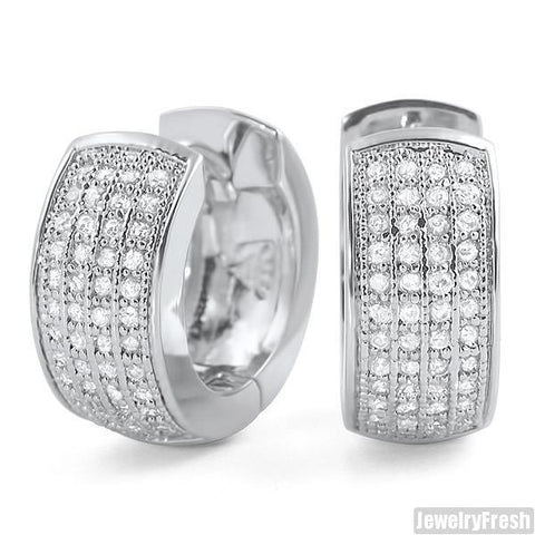 Rhodium 4 Row Micropave CZ Hoop Earrings