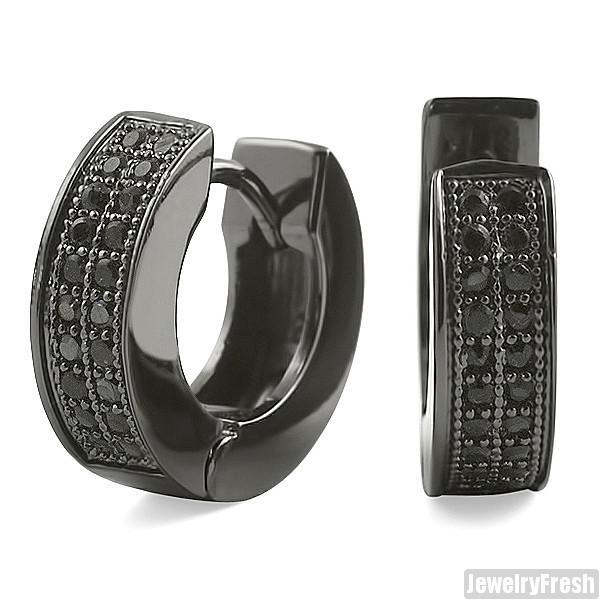 All Black Finish 2 Row Micropave CZ Hoop Earrings