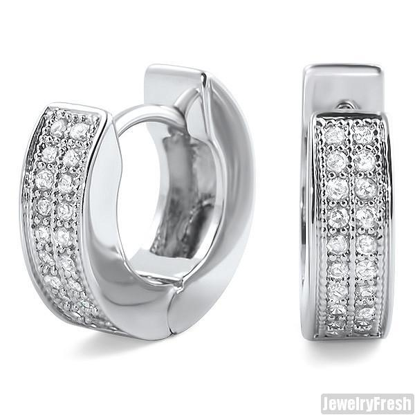 Rhodium Finish 2 Row Micropave CZ Hoop Earrings