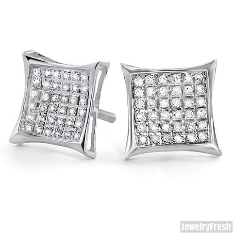 Silver 0.25ct Genuine Diamond Kite Stud Earrings