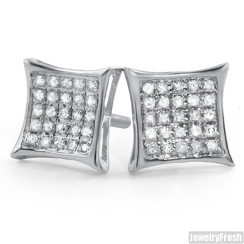 Silver 0.15ct Genuine Diamond Kite Stud Earrings