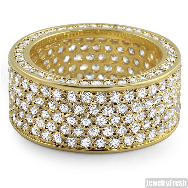Gold Finish Simulated Diamonds 360 Ring
