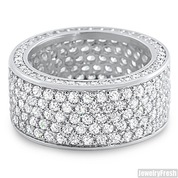 Platinum Finish Eternity Fully Iced Out CZ Ring