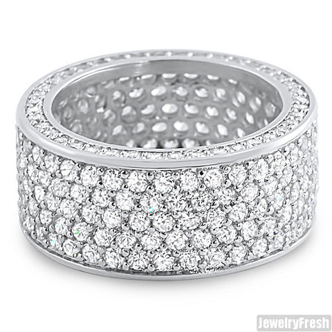 Platinum Finish 360 Degrees Fully Iced Out CZ Ring