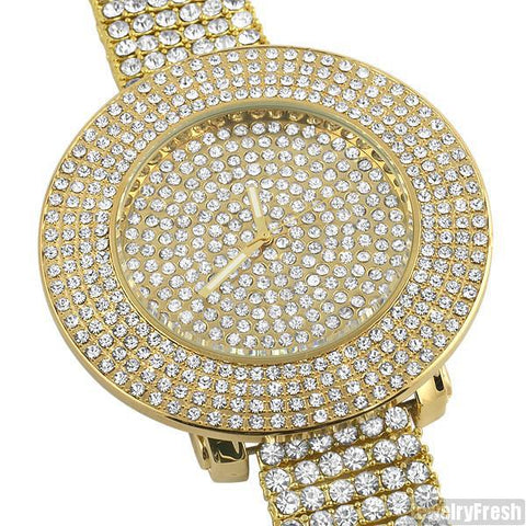 Gold Tone Fully Iced Out 4 Row Bezel Watch
