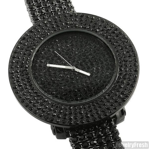 Blacked Out Fully Iced Out 4 Row Bezel Watch