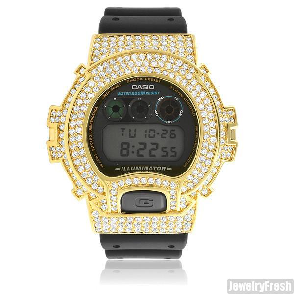 Gold Finish Simulated Diamonds G Shock DW-6900