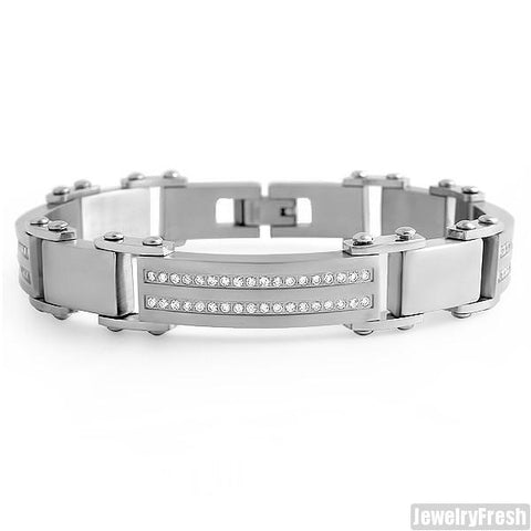 Mens Stainless Steel Bracelet Simulated Diamonds