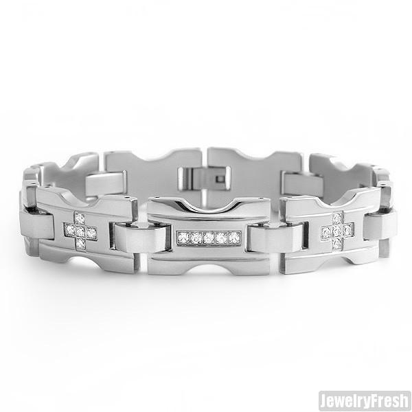 Polished X Link Steel Mens Bracelet With CZ Stones